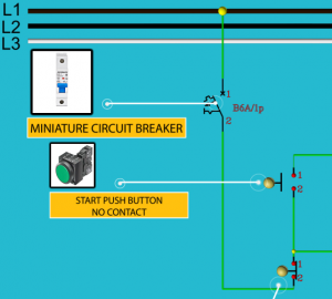 Control circuit connection of contractor of power supply Miniature Circuit Breaker (MCB) START and STOP push button