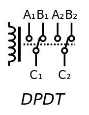 These relays are equivalent to two SPDT switches or relays actuated by a single coil