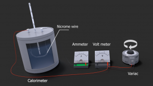Experiment how to measure heat and power with calorimeter, ampermeter, voltmeter and variac