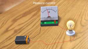 Princip of measuring current with ampermetar
