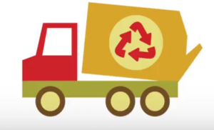 Waste is collected with trucks