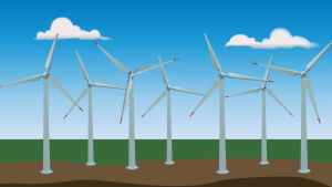 Wind farms (group of large wind turbine on one place)